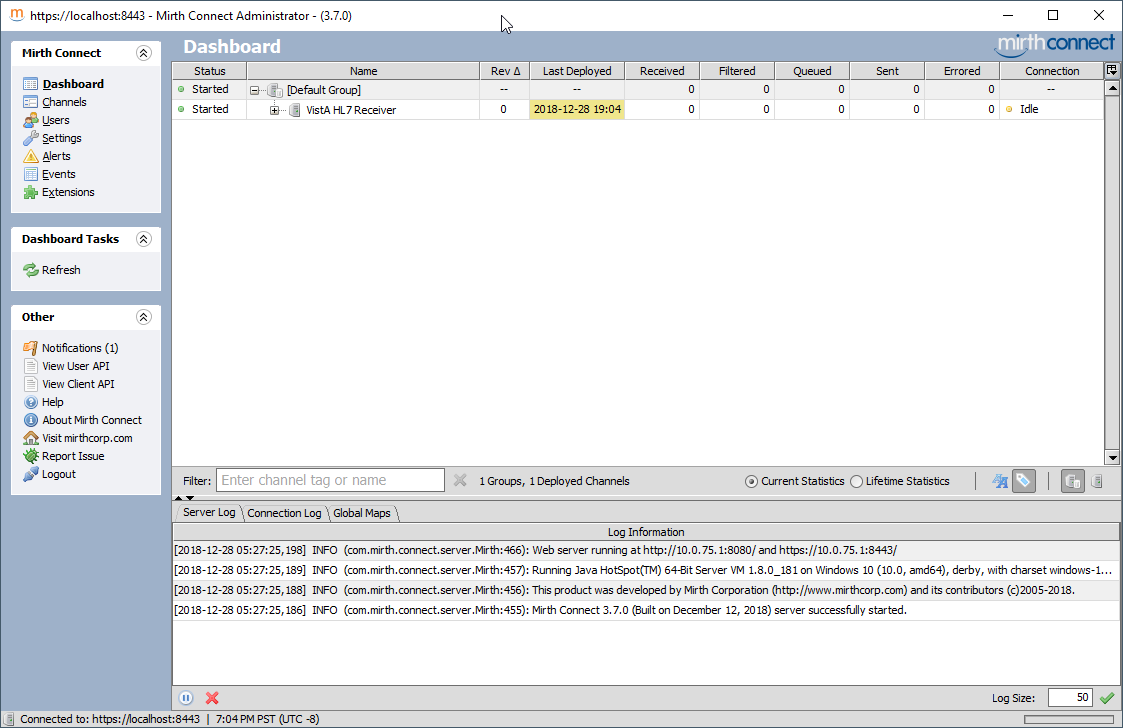 Set-up HL7 Messages from and to VistA